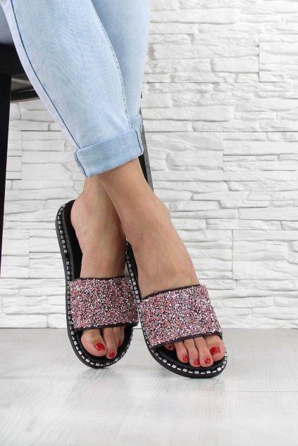 Pantofle zdobené kamínky 18129R (1)