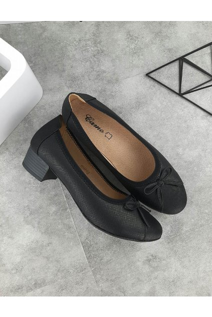 1073 1 BLACK Černé baleríny na podpatku (2)