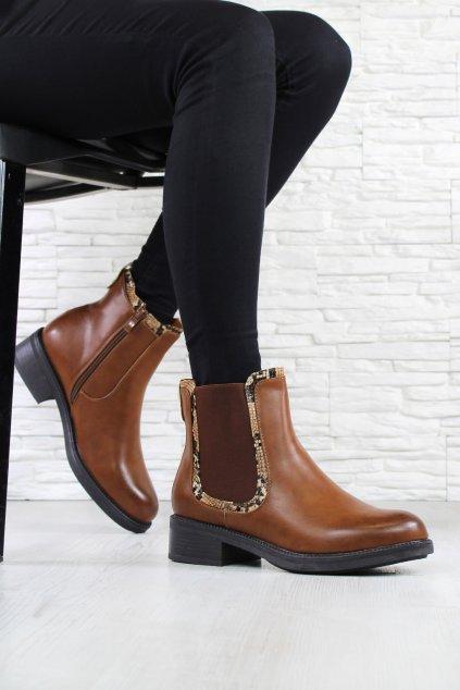 Kotníkové boty hnědé W119 17CA (2)