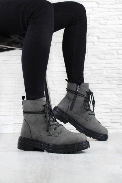 Kotníkové boty šedé D001G (1)