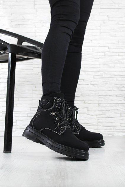Černé kotníkové boty D002B (5)