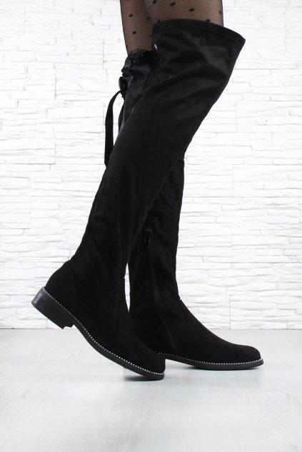 Semišové kozačky nad kolena W99 1B (3)