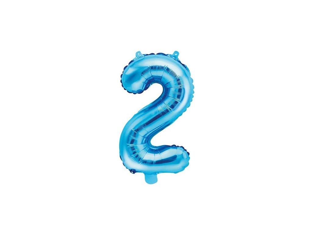foliovy balonek 35 cm modry cislo 2