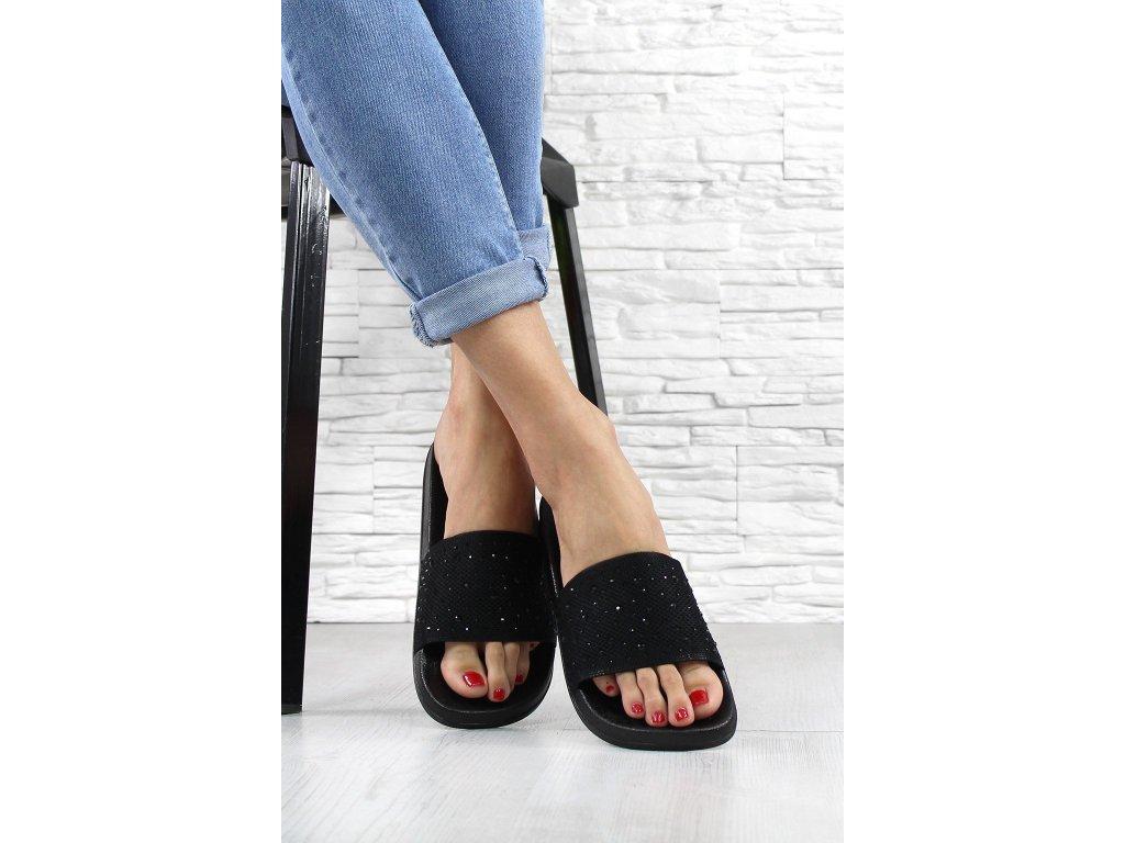 Dámské pantofle s kamínkami barva černá