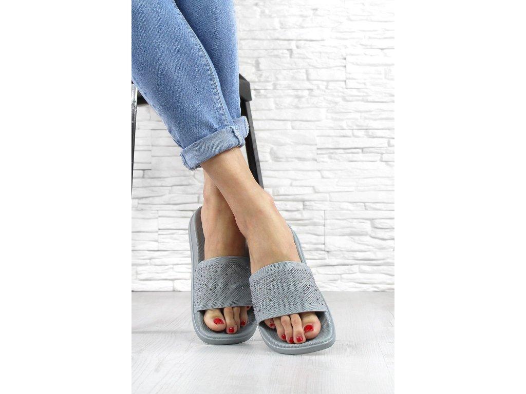 Dámské pantofle s kamínkami barva šedá