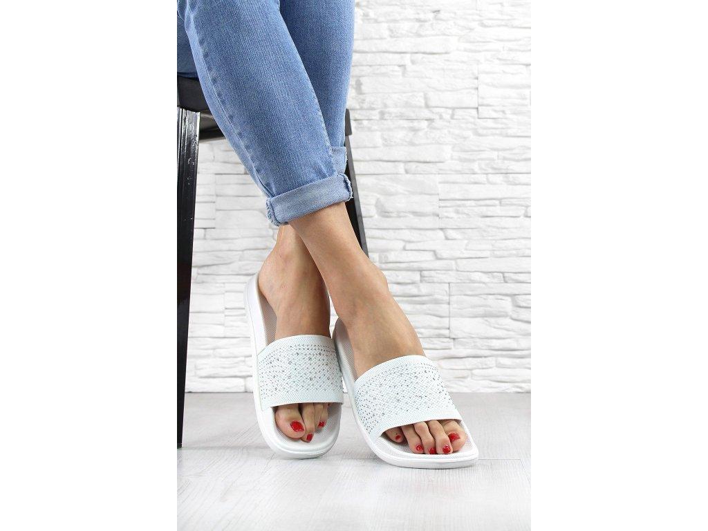 Dámské pantofle s kamínkami barva Bílá