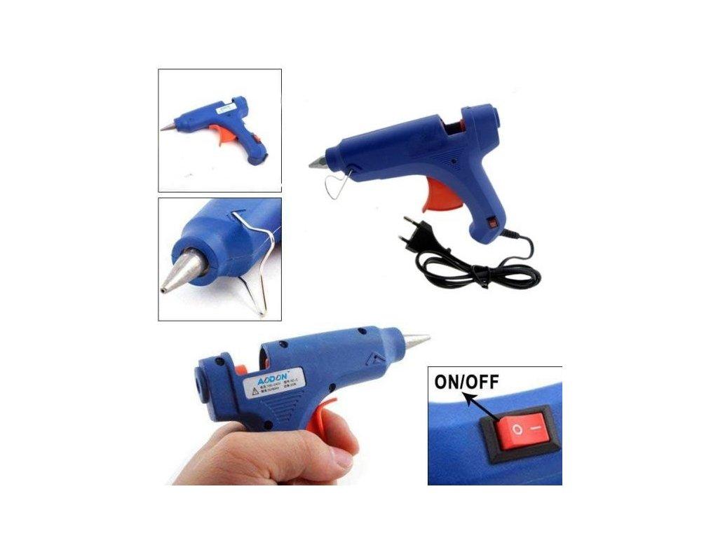 Tavná lepící pistole malá + sada 8 ks tavných tyčinek