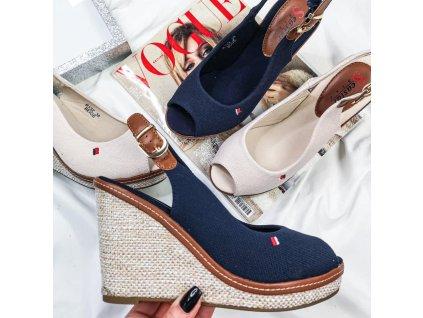 Top luxusní sandálky na platformě barva krémová