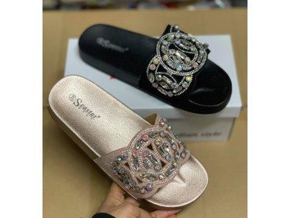 Luxusní pantofle s kamínkami barva béžová