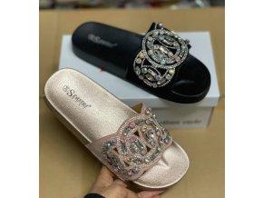 Luxusní pantofle s kamínkami barva černá