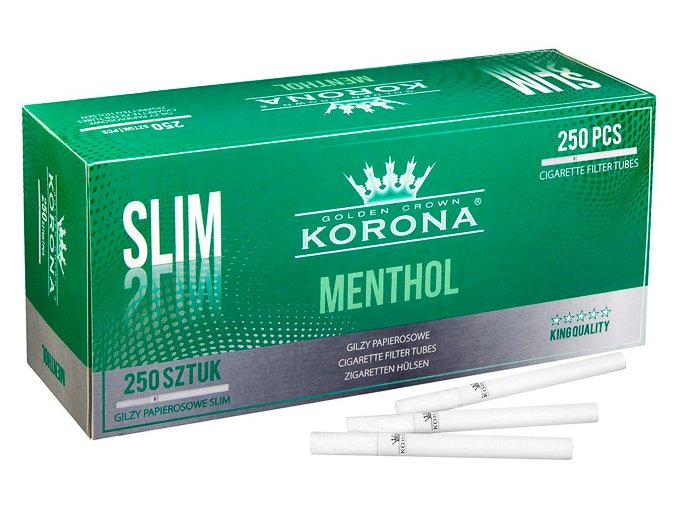 SLIM bílé dutinky Menthol Korona 250ks