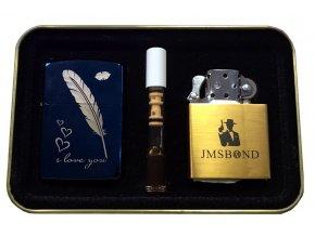 Dárkový plazmový zapalovač v plechové krabičce - SET 04