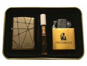 Dárkový plazmový zapalovač v plechové krabičce - GOLD SET 03