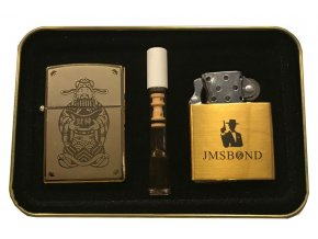 Dárkový plazmový zapalovač v plechové krabičce - GOLD SET 04