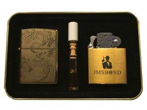 Dárkový plazmový zapalovač v plechové krabičce - GOLD SET 05