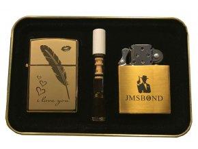 Dárkový plazmový zapalovač v plechové krabičce - GOLD SET 06