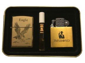 Dárkový plazmový zapalovač v plechové krabičce - GOLD SET 07
