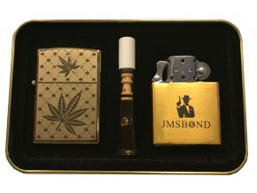 Dárkový plazmový zapalovač v plechové krabičce - GOLD SET 08