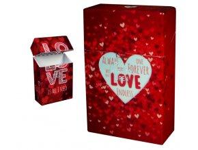 Cigaretové pouzdro s auto otevíráním LOVE HEARTS 01