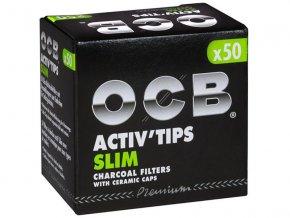 ocb filter slim activ tips active charcoal 7mm 50 pieces