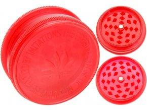 Magnetická 2-dílná plastová drtička BUDDIES RED