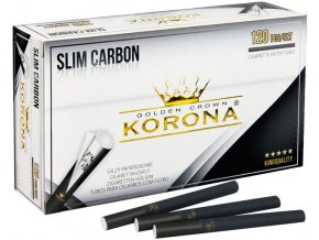 100x SLIM dutinky KORONA 120 BLACK CARBON + SLIM plnička