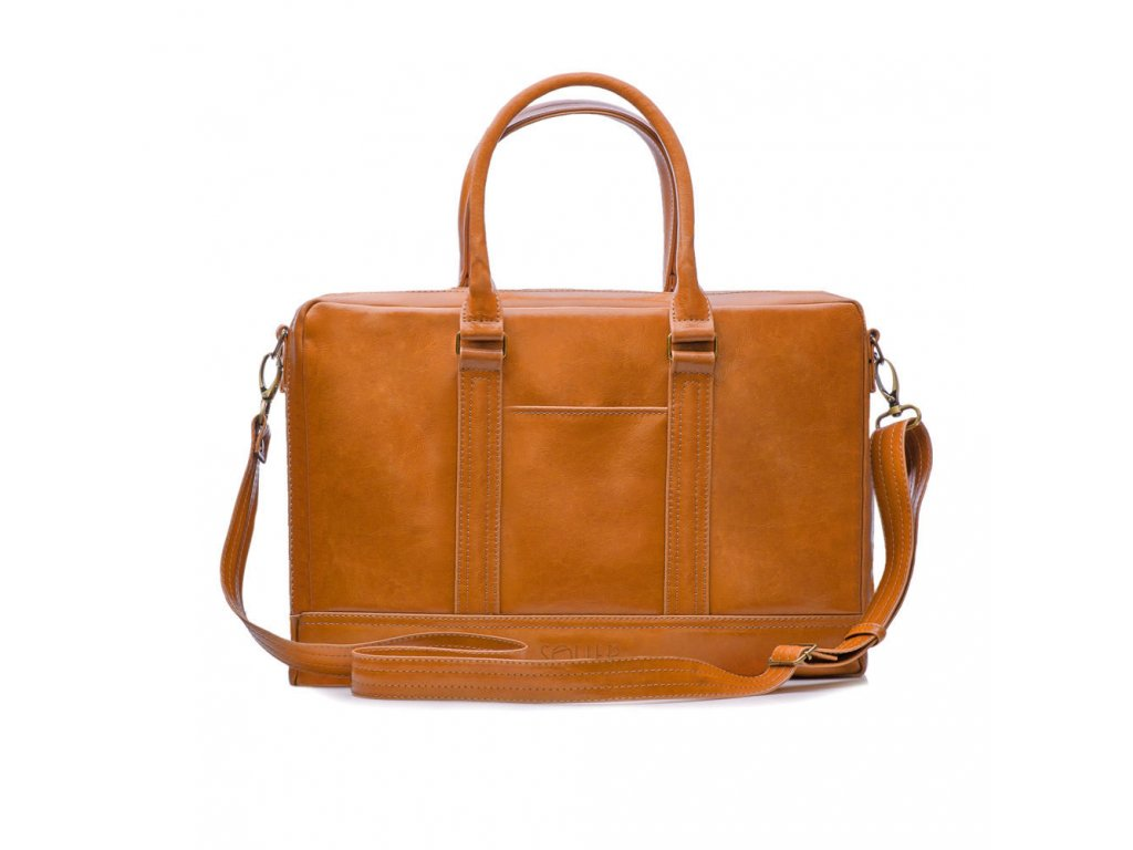 Pánská kožená taška přes rameno Solier - Camel