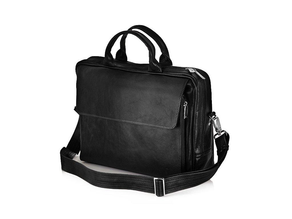 Pánská kožená taška přes rameno Solier - Černá