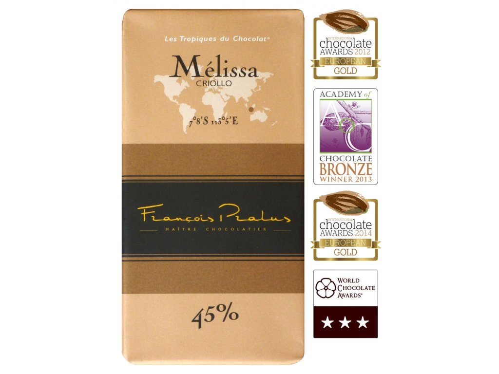 Čokoláda Francois Pralus Mélissa 45%, 100g