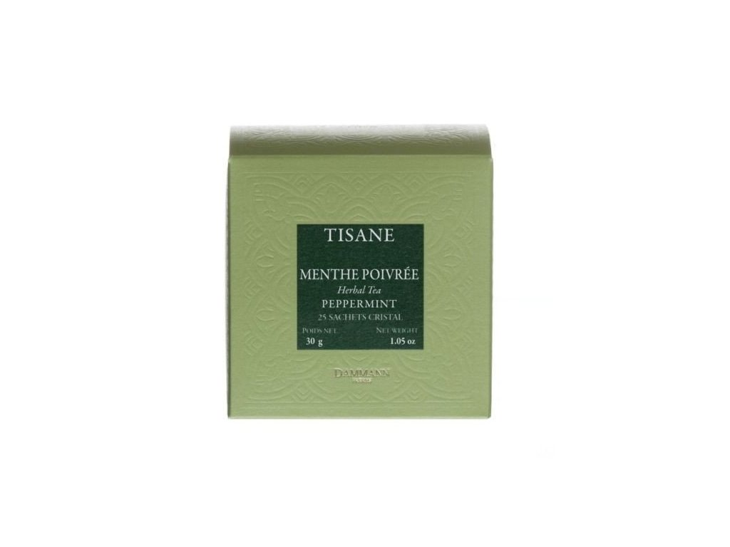 Dammann Fréres Sachets Box Tisane Menthe Poivrée - pepermint, 25 x 1,2 gr. 4513, bylinný čaj, porciovaný, v krištáľových sáčkoch