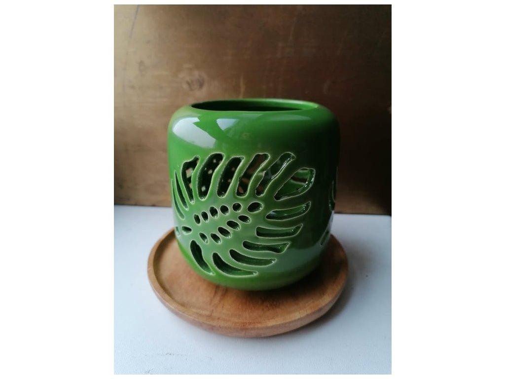 vykurovaci picka zelena list keramika