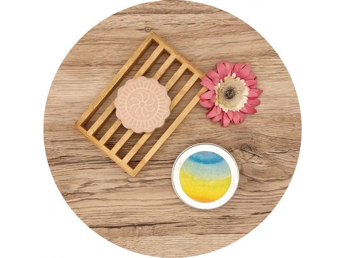 cestovní krabička na mýdla - žlutá duha