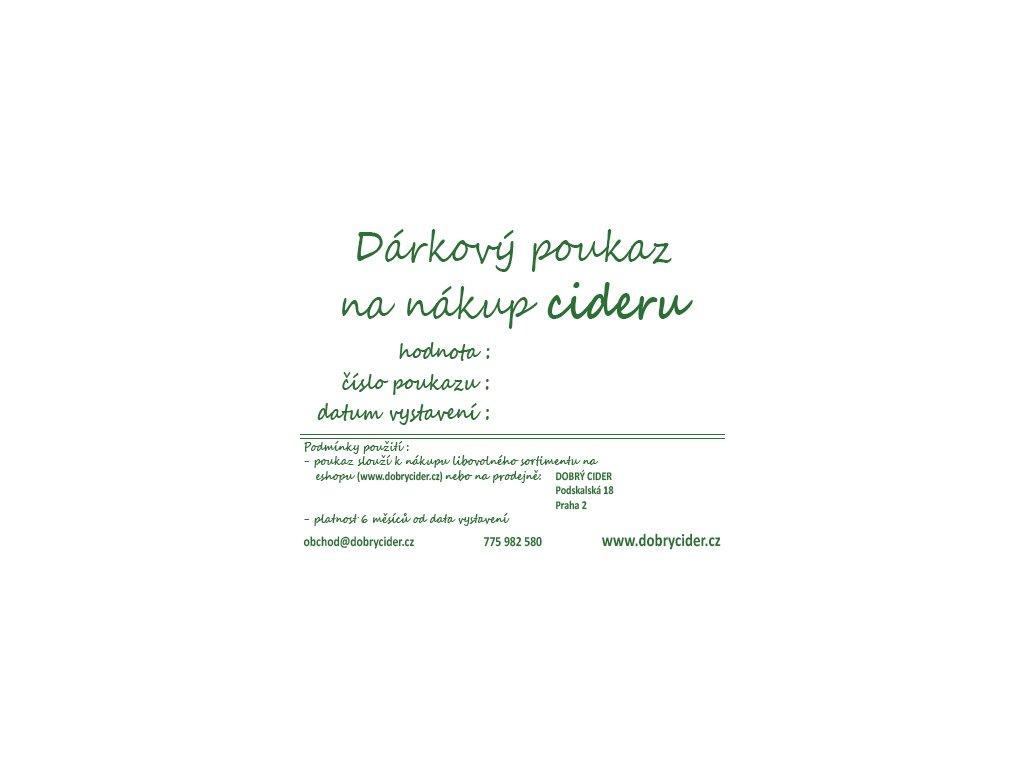 Dárkový voucher pro nákup cideru 500 Kč