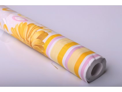Ubrus papírový - žluté květy, 7x1,2m