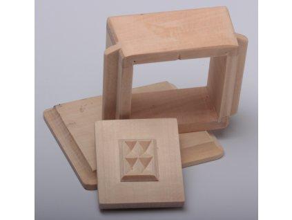 Forma na máslo - krabička s prkénkem - čtverec 8,5x7,5x5cm