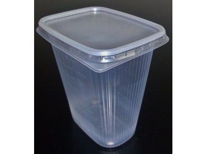 Kelímek průhledný hranatý s víčkem 500 ml - balení 10ks