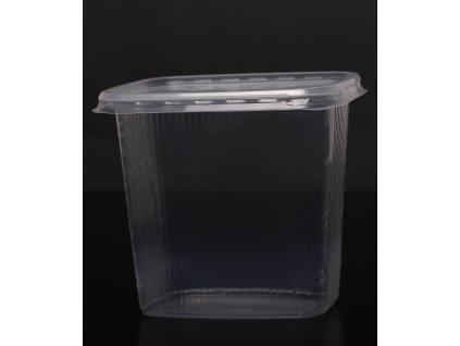Kelímek průhledný hranatý s víčkem 500 ml - balení 1ks/ cena od 500ks