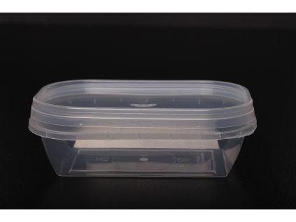Kelímek průhledný hranatý s průhledným víčkem - 150ml