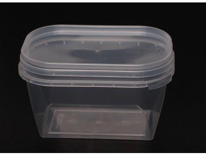 Kelímek průhledný hranatý s průhledným víčkem - 300ml