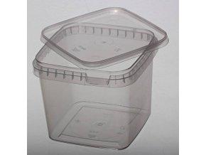 Kelímek / kbelík hranatý s víčkem  - 1,15l transparentní