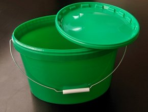 Kbelík oválný s víkem a uchem - 11l zelený