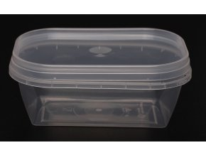 Kelímek s víčkem obdélník - 200ml, transparent