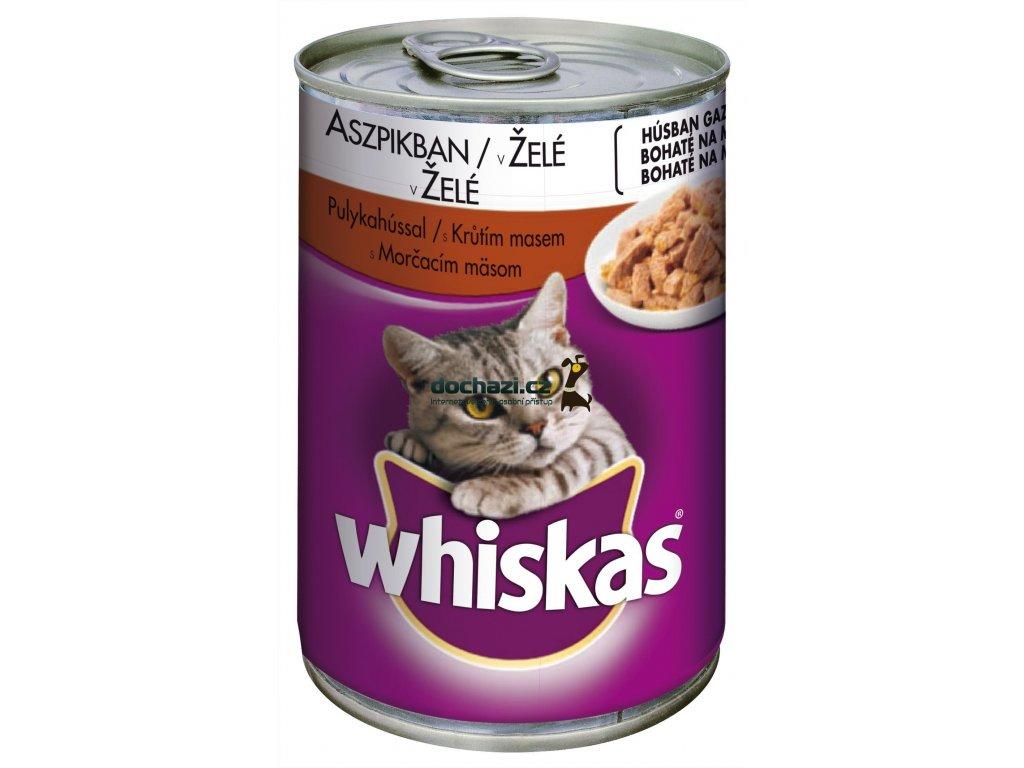WHISKAS cat konzerva KRŮTÍ maso/želé 400 g