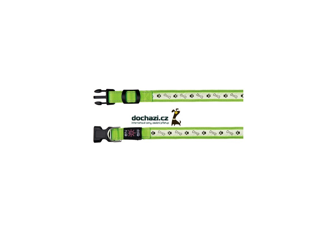 TRIXIE - Obojek USB/svíticí ZELENÝ