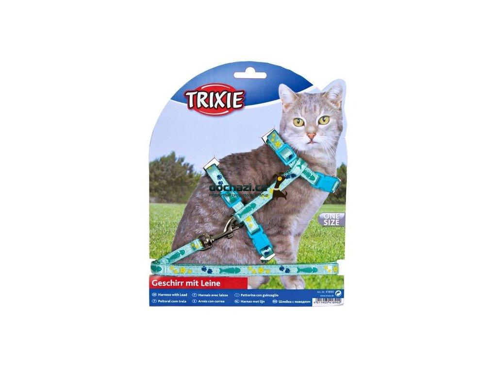 TRIXIE - Postroj  s vodítkem na kočku pošitý stužkou 22-36cm/10mm