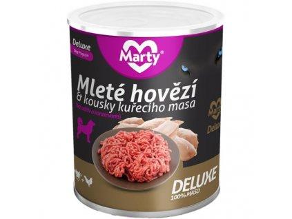 MARTY konz. pro psy DeLuxe-hov.+kousky kuř. 800 g
