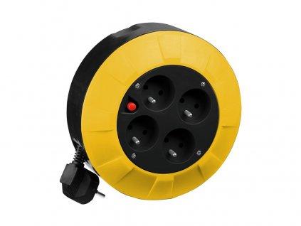 kabel prodlužovací  4 m  (4 zásuvky), na bubnu  průřez 1,5mm2