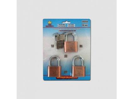 Visací zámek 3 ks 50mm na 1 klíč Corona PC9350