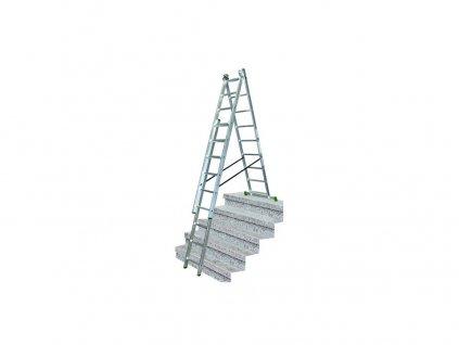žebřík trojdílný 3x10 s úpravou na schody 285/448/615 cm