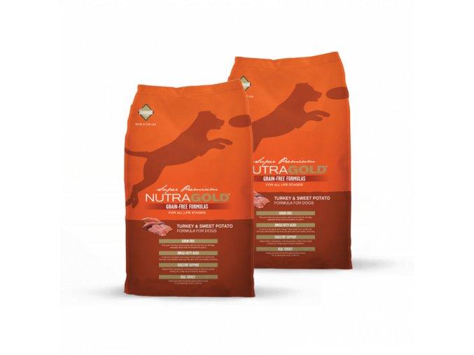 Dvojbalení Nutra Gold Turkey&Sweet Potato GRAIN FREE 13,6 kg